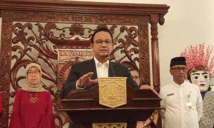 Tribunnews/Gubernur DKI Jakarta, Anies Baswedan saat menggelar konferensi pers terkait Corona, kemarin.
